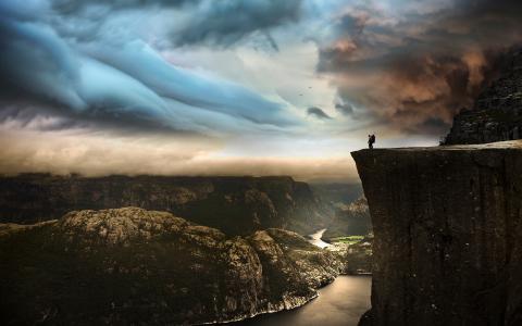 性质,极端,假期,山,峡湾,挪威,天空,多云,美丽