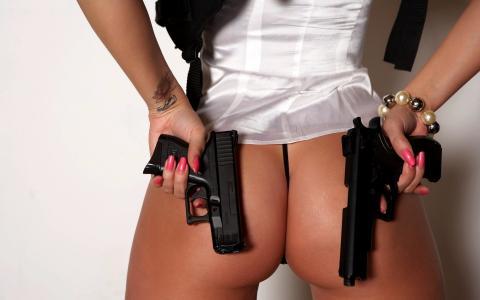 女孩,牧师,武器,手枪,纹身