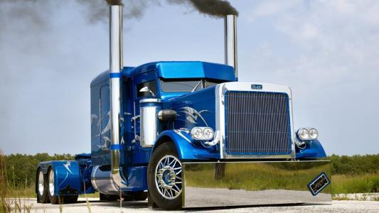 彼得比尔特,卡车,卡车,蓝色,喷枪,森林,树木,煤烟