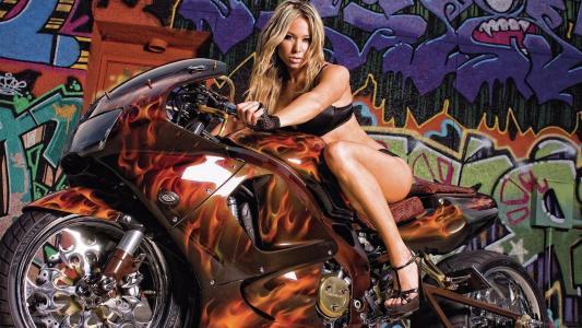 摩托车,女孩,自行车,涂鸦