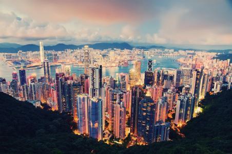 灯,云,晚上,香港,香港,城市