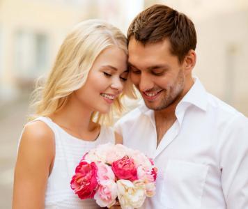 照片,夫妇,积极,爱,鲜花