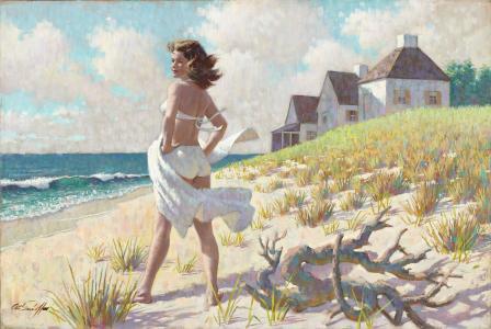 沙滩,沙滩,水,女孩,阿瑟萨隆sarnoff