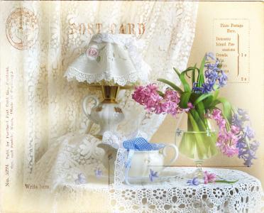 静物,静物,玻璃,鲜花,风信子,丝带,餐巾,花边,窗帘,灯,渲染