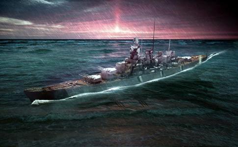 战斗,船,海,雨,绘图