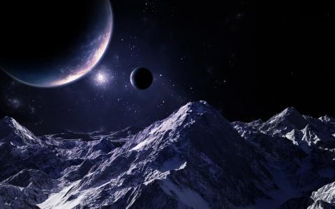 行星,光,天空,山,星星