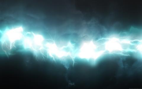 发光,闪电,蓝色,白色