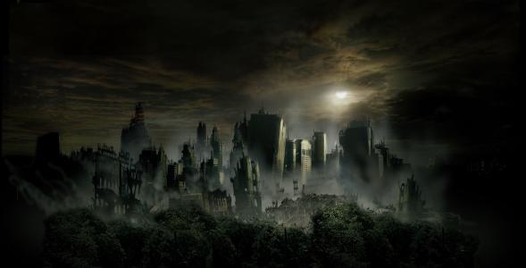 黑暗的摩天大楼,被毁的城市