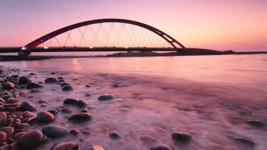 桥梁,石头,晚上,海,日落,冷静,岸,灯