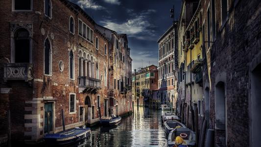 威尼斯,船,房屋,城市