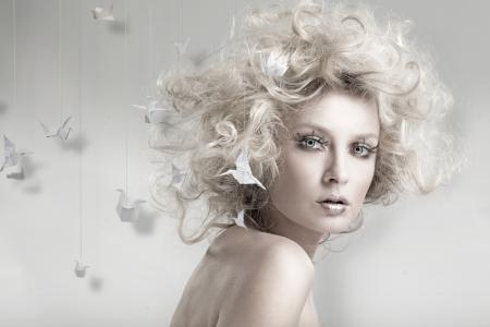 金发,脸,化妆,创意