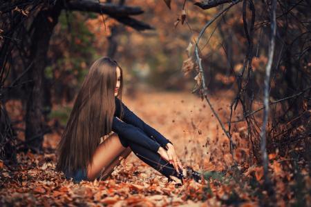 森林,女孩,秋天