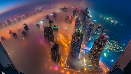 迪拜,迪拜,城市,高度,高层建筑,烟雾