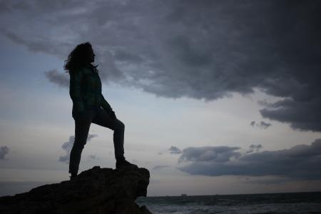 海,敖德萨,乌克兰,云,天空,云,女孩,美丽,波,风暴,风暴,岩石,石头