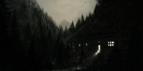 房子,晚上,下雨