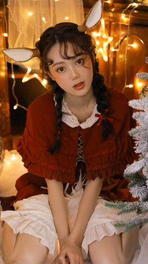 小清新美女圣诞妆娇媚可爱写真