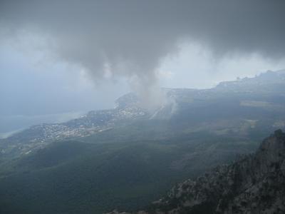 克里米亚,秋天,山,海,森林,雾,天空