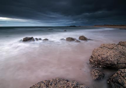 云,晚上,苏格兰,海,天空,英国