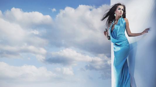 云,蓝色,晚礼服的女孩