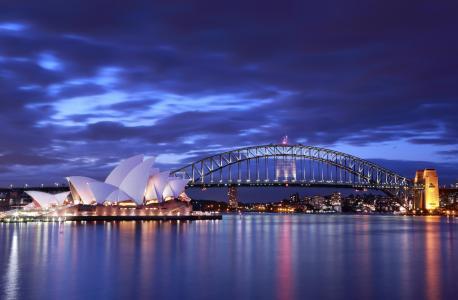 歌剧院,晚上,桥,澳大利亚,悉尼,灯