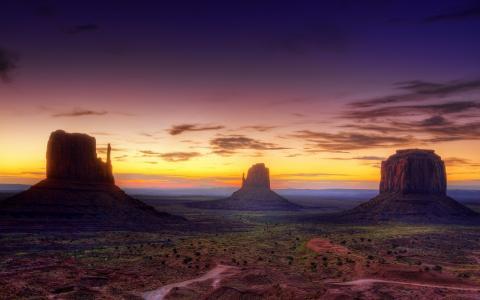 峡谷,日落,亚利桑那州,沙漠,太阳,天空