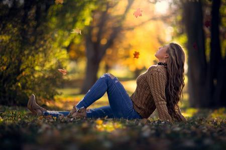 秋天,女孩,公园,落叶