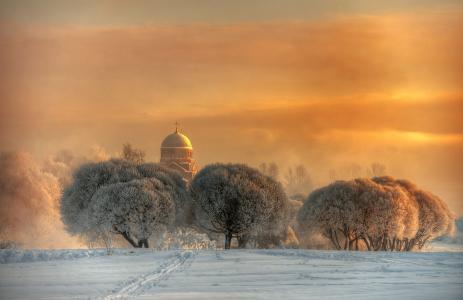 Gordeev爱德华,自然,冬天,雪,树,霜,圆顶,日落