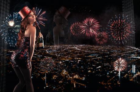 Tancy玛丽,新年,烟花,夜晚的城市,全景,反射,瓶,香槟