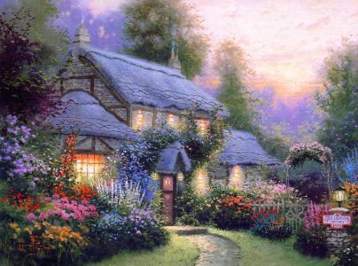 托马斯kinkade,kinkade,夏天,平房,房子,晚上,鲜花,舒适,温暖,沉默,冷静