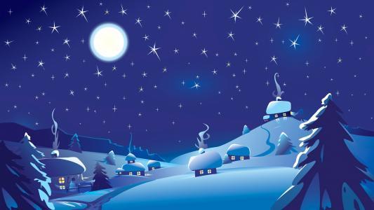 房子,雪,月亮,天空,星星,烟雾,冷杉,雪人,美丽