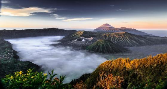 山,天空,云,地平线,美,谷,雾