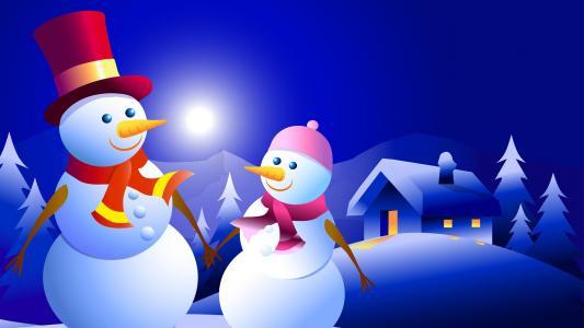 雪人,3d图形,树木,房屋,冬天,夜晚