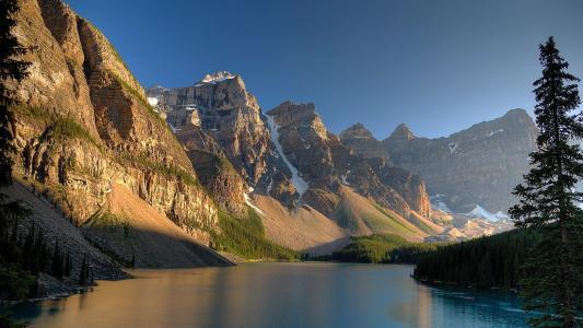 蓝色,阳光明媚,天空,光,树,湖,阴影,山