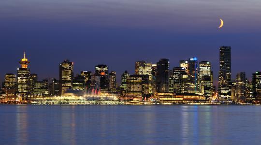 温哥华,晚上,温哥华,加拿大,月亮,城市的灯光