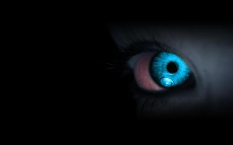 黑暗,蓝色,眼睛