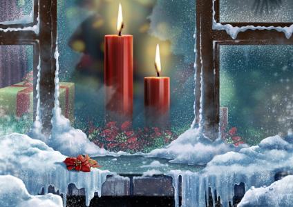 框,酷,花,圣诞节,多彩,新年快乐,礼物,美容,美丽,颜色,蜡烛