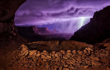 闪电,马,天空,洞穴,云,美女