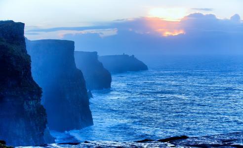 日出,海洋,性质,悬崖