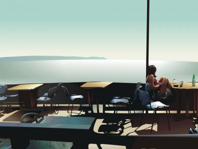 路堤,空表,咖啡馆,女孩,海,地平线,地球
