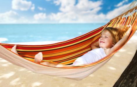 孩子,吊床,海,夏天,假期