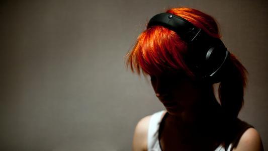 耳机,女孩,红头发,粗鲁,海莉威廉斯