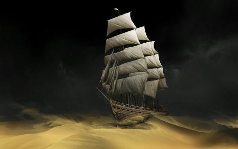 幻想,艺术,帆船,沙漠,黑暗的背景