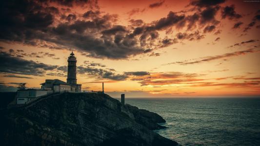 灯塔,晚上,海,云,性质