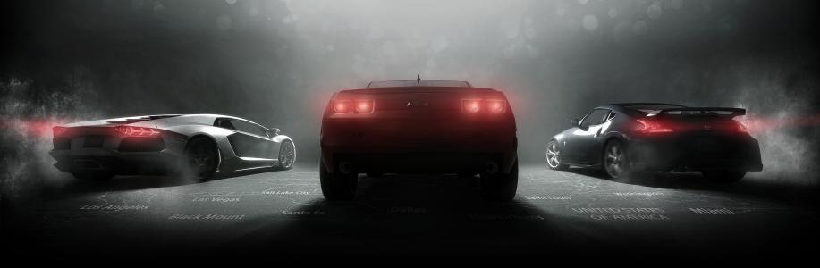 雪佛兰,日产,兰博基尼,超级跑车,黑暗的背景