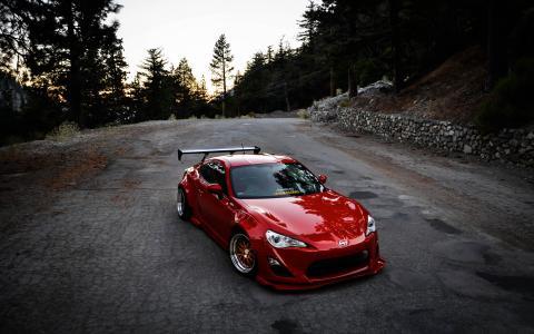 斯巴鲁,跑车,路,山,蛇纹石,调音,红色