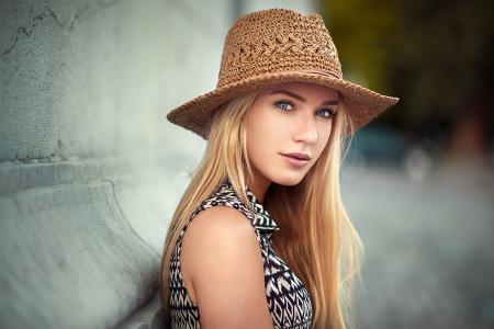 女孩,金发,模型,美丽,肖像,帽子,看