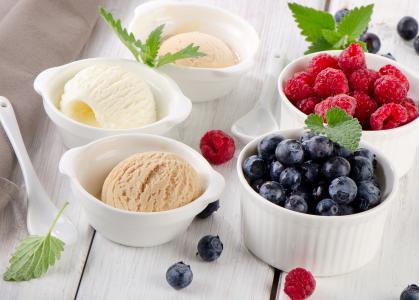 冰淇淋,浆果,覆盆子,蓝莓,蓝莓,kremanki,甜点,甜,薄荷