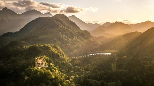 自然,山,城堡,森林,超级照片,美容,湖