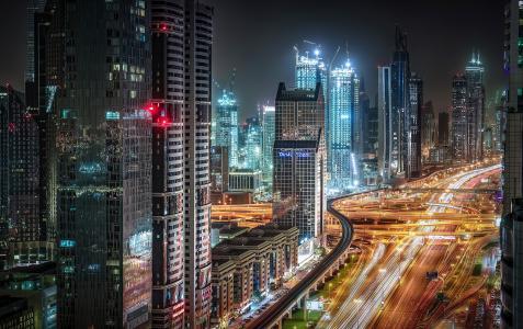 城市,迪拜,阿联酋,夜,摩天大楼,街道,灯
