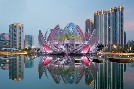 中国,常州,莲花,建筑,水,天空,灯光,美景